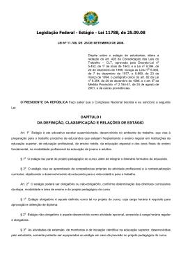Legislação Federal - Estágio - Lei 11788, de 25.09.08
