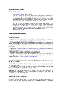 REGISTRO DE EMPRESAS Embasamento legal: Lei Federal 5.194