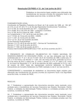 Resolução/CD/FNDE nº 21, de 3 de junho de 2013