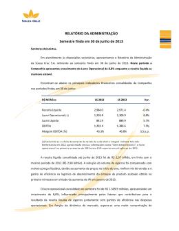 Relatório do 1º semestre de 2013