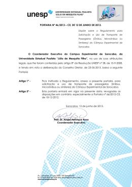 PORTARIA Nº 46/2013 – CE, DE 12 DE JUNHO DE 2013. O