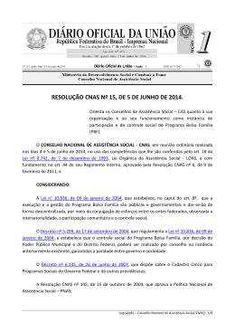 resolução cnas nº 15, de 5 de junho de 2014.
