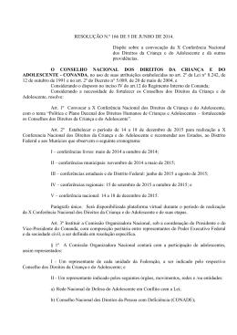 RESOLUÇÃO N.º 166 DE 5 DE JUNHO DE 2014. Dispõe sobre a