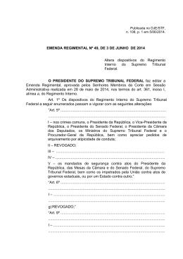 EMENDA REGIMENTAL Nº 49, DE 3 DE JUNHO DE 2014 Altera