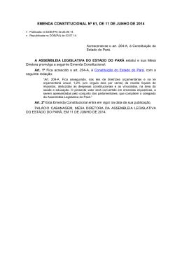emenda constitucional nº 61, de 11 de junho de 2014