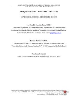ERLIQUIOSE CANINA - REVISÃO DE LITERATURA IBRANDÃO