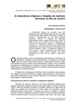 A intolerância religiosa e religiões de matrizes africanas no Rio de