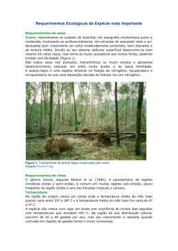 Requerimentos Ecológicos da Espécie mais Importante
