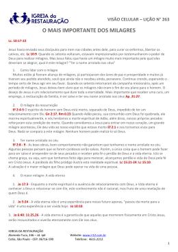 O MAIS IMPORTANTE DOS MILAGRES - IR12
