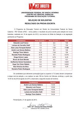 Ofício nº 14/2012 - PET Direito UFSC