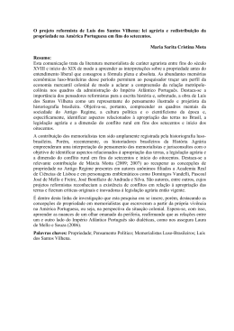 O projeto reformista de Luís dos Santos Vilhena: lei agrária e