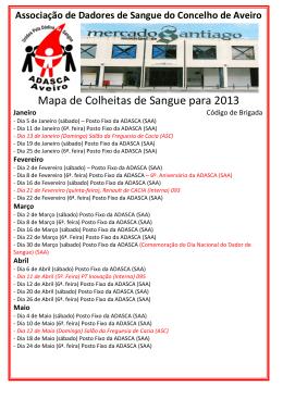 Mapa de Brigadas para o Ano de 2013