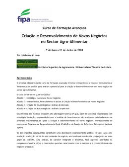 Criação e Desenvolvimento de Novos Negócios no Sector Agro
