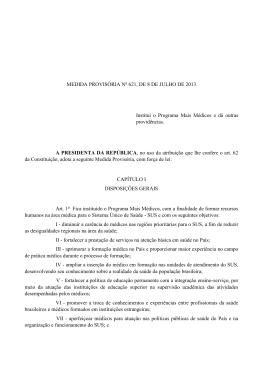 MEDIDA PROVISÓRIA No 621, DE 8 DE JULHO