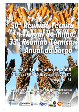 Indicações Técnicas para o Cultivo de Milho e Sorgo no Rio Grande