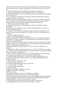 Indicações clínicas para listagem de pacientes para transplante renal