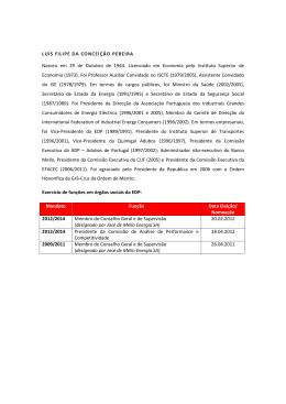 LUÍS FILIPE DA CONCEIÇÃO PEREIRA Nasceu em 29 de