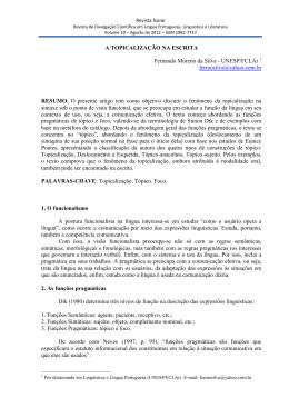 A TOPICALIZAÇÃO NA ESCRITA Fernando Moreno da Silva