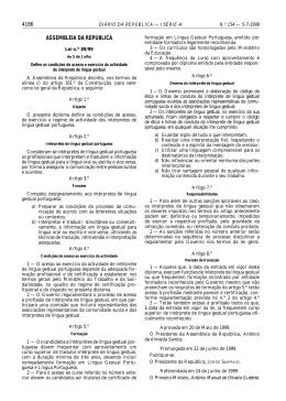 Lei 89/99, de 5 Julho