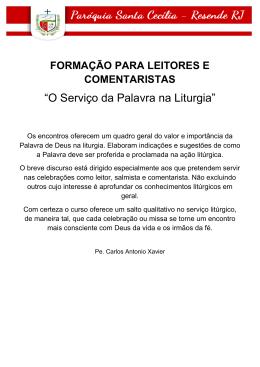 """O Serviço da Palavra na Liturgia"""