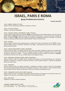 ISRAEL, PARIS E ROMA