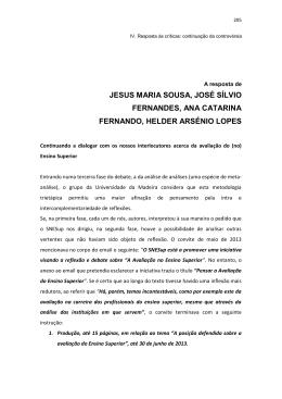 A Resposta de Jesus Maria Sousa, José Sílvio Fernandes, Ana