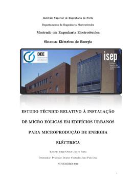 estudo técnico relativo à instalação de micro eólicas em edifícios