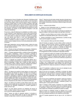 REGULAMENTO DE VERIFICAÇÃO DE INVALIDEZ