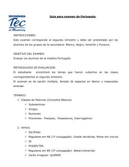 Guía para examen de Portugués: INSTRUCCIONES: Este examen