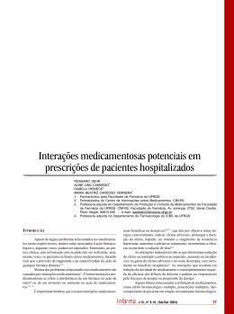 Interações medicamentosas potenciais em prescrições de pacientes