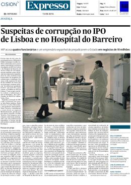 Suspeitas de corrupção no IPO de Lisboa e no Hospital do Barreiro