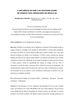 A INFLUÊNCIA DO BGB E DA DOUTRINA ALEMÃ NO DIREITO