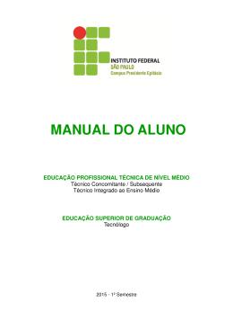 Manual do aluno 2015 - Instituto Federal de São Paulo – Campus