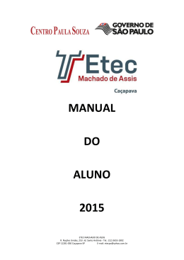 MANUAL DO ALUNO 2015 - Etec Machado de Assis
