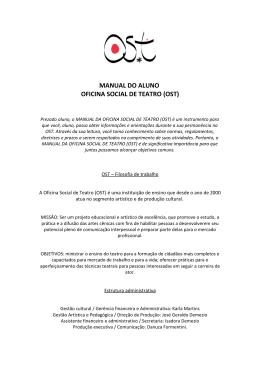 MANUAL DO ALUNO OFICINA SOCIAL DE TEATRO (OST)