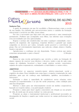 MANUAL DO ALUNO 2015 - Colégio Montessoriano