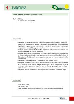 Chefe de Divisão Luís Manuel Mendes Orvalho Competências