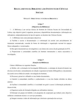Regulamento da Biblioteca - Instituto de Ciências Sociais da