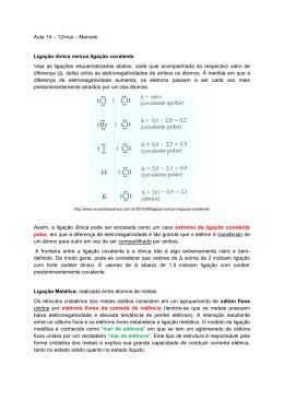 Aula 14 – 12/mai – Marcelo Ligação iônica versus