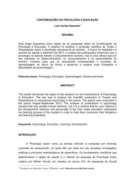 CONTRIBUIÇÕES DA PSICOLOGIA Á EDUCAÇÃO Luis Carlos