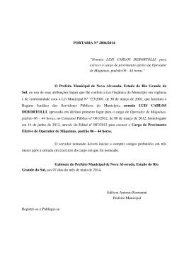 """PORTARIA N° 2804/2014 """"Nomeia LUIS CARLOS DEBORTOLLI"""