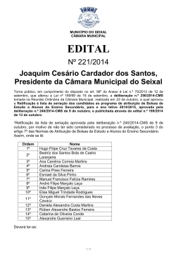 EDITAL - Câmara Municipal do Seixal