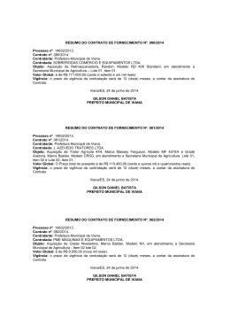RESUMO DO CONTRATO DE FORNECIMENTO Nº. 080/2014