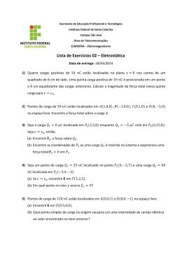 Lista de Exercícios 02 – Eletrostática - IF