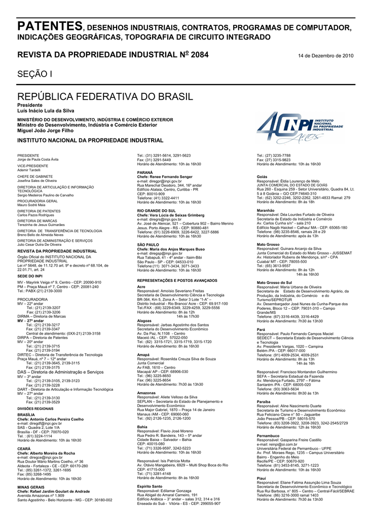 DIRETORIA DE PATENTES - Revista da Propriedade Industrial 421af7db327e8