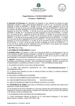 Pregão Eletrônico nº 20130105 SEDUC