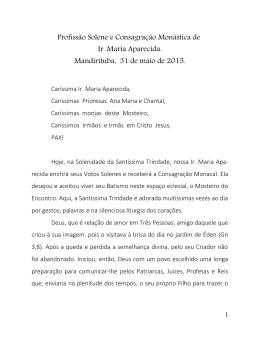 Profissão Solene e Consagração Monástica de Ir. Maria Aparecida