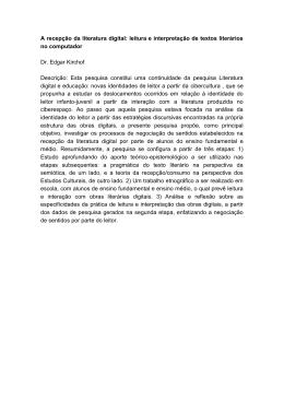 A recepção da literatura digital: leitura e interpretação de textos