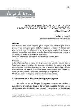 Aspectos sintáticos do texto: uma proposta para o trabalho com