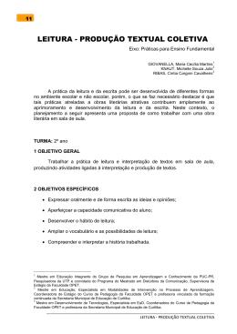 LEITURA - PRODUÇÃO TEXTUAL COLETIVA Eixo
